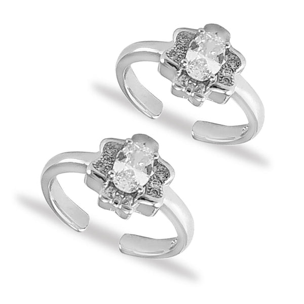 Taraash Sterling Silver Butterfly Design CZ Toe Ring For Women