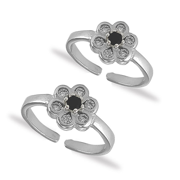 Taraash 925 Silver Floral White Black CZ Toe Ring For Women