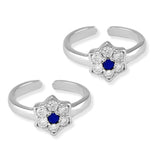 Taraash 925 Silver Floral White Blue CZ Toe Ring For Women