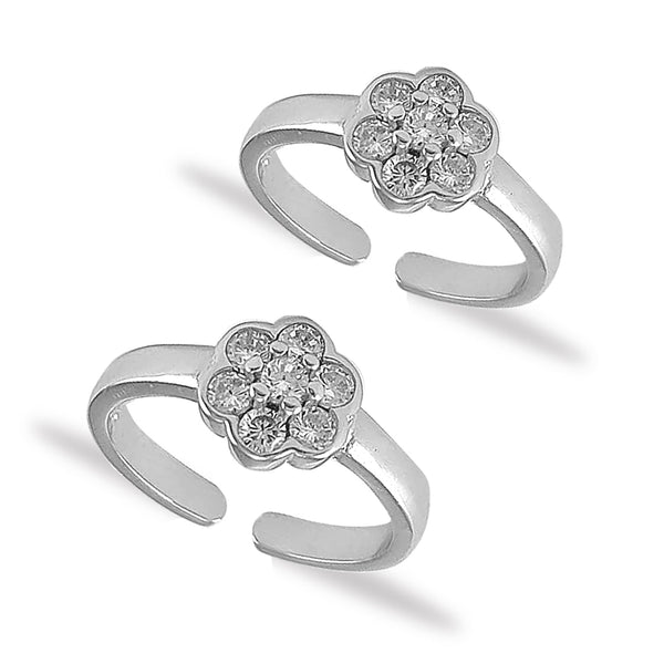 Taraash 925 Silver Flower White CZ Toe Ring For Women