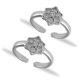 Taraash Sterling Silver Floral White CZ Toe Ring For Women