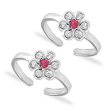 Taraash 925 Silver Floral White Pink CZ Toe Ring For Women