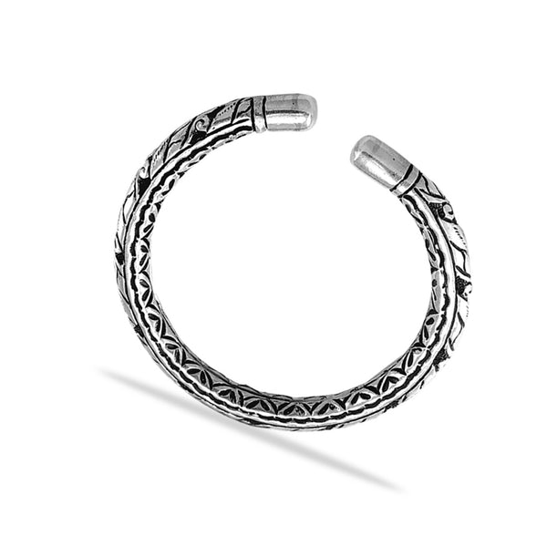 Taraash 925 Sterling Silver Engraved Antique Bangle for Women