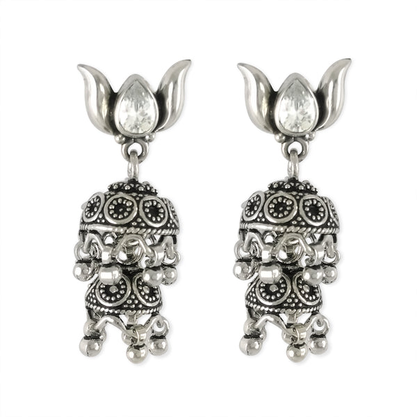 Taraash 925 Sterling Silver Double Lyer Jhumki Style Earrings For Women UMAE105