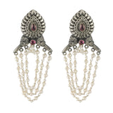 Taraash 925 Sterling Silver Pear Drop Style Tribal Collection Earrings For Women UMAE58