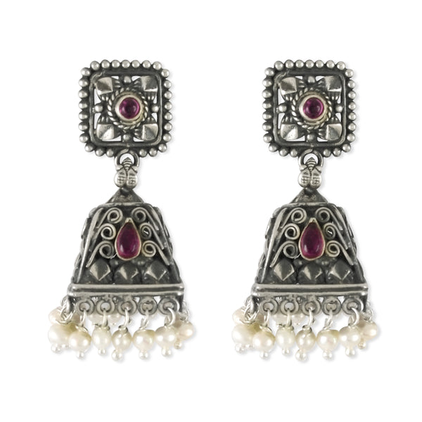 Taraash 925 Sterling Silver Antique Traditional Jhumki Earrings For Women UMAE61