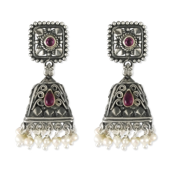Taraash 925 Sterling Silver Antique Tribal Collection Jhumki For Women UMAE62