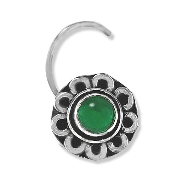 Taraash 925 Silver Flower Design Green Stone Nose Pin For Women