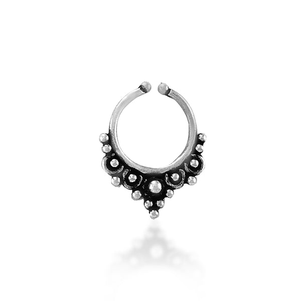 Taraash 925 Silver Antique Tribal Design Nose Ring for Women