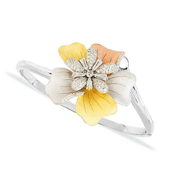 Blisse 925 Sterling Silver 3 Tone Floral CZ Bangle For Women