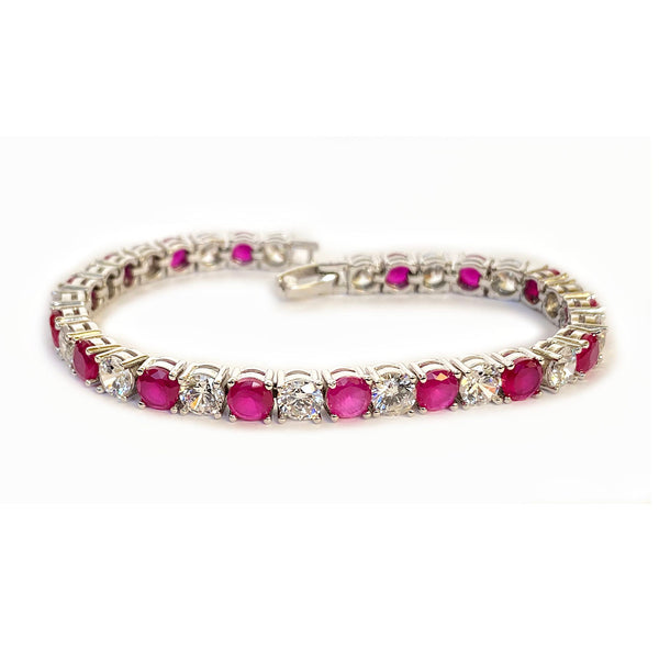 Blisse Allure Sterling Silver Red and White CZ Bracelet For Women