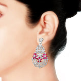 Blisse Allure 925 Silver Fancy Pink White CZ Earring For Women