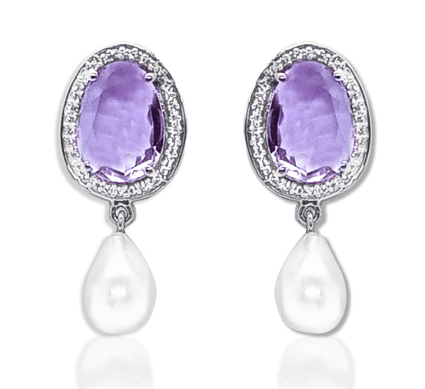 Blisse 925 Silver Pink Amethyst Stone Earring with Dangling Pearl
