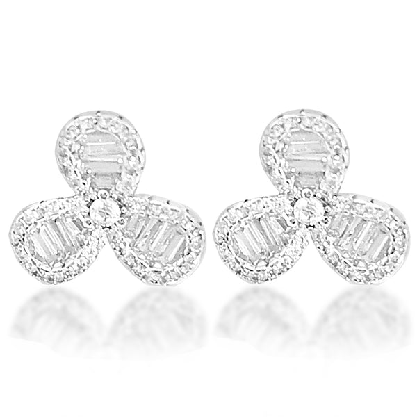 Blisse 925 Silver Fancy Floral CZ Stud Earring For Women