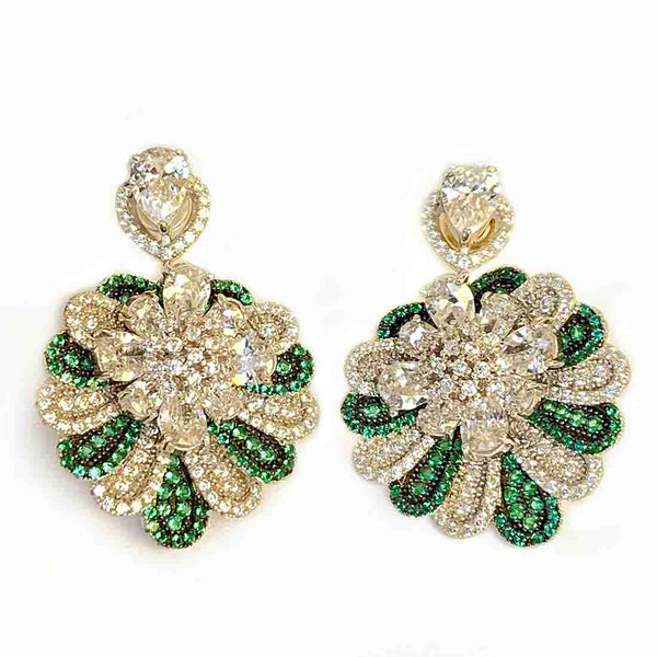 Blisse 925 Silver Traditional Jhumka Green White CZ Earring For Women