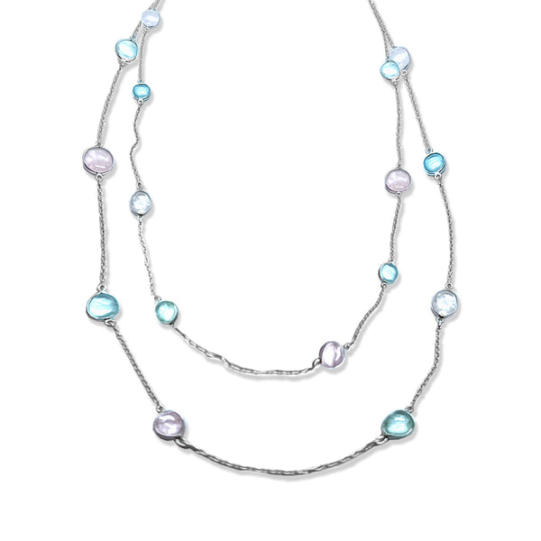 Blisse 925 Silver Aquamarine and Morganite Stone Necklace