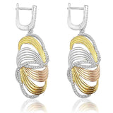Blisse Sterling Silver 3 Fancy Cubic Drop Earring For Women