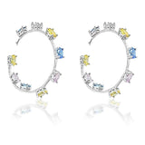 Blisse Sterling Silver Multicolor CZ Earring For Women