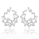 Blisse Allure 925 Silver White Tapered Cut CZ Stud Earring For Women