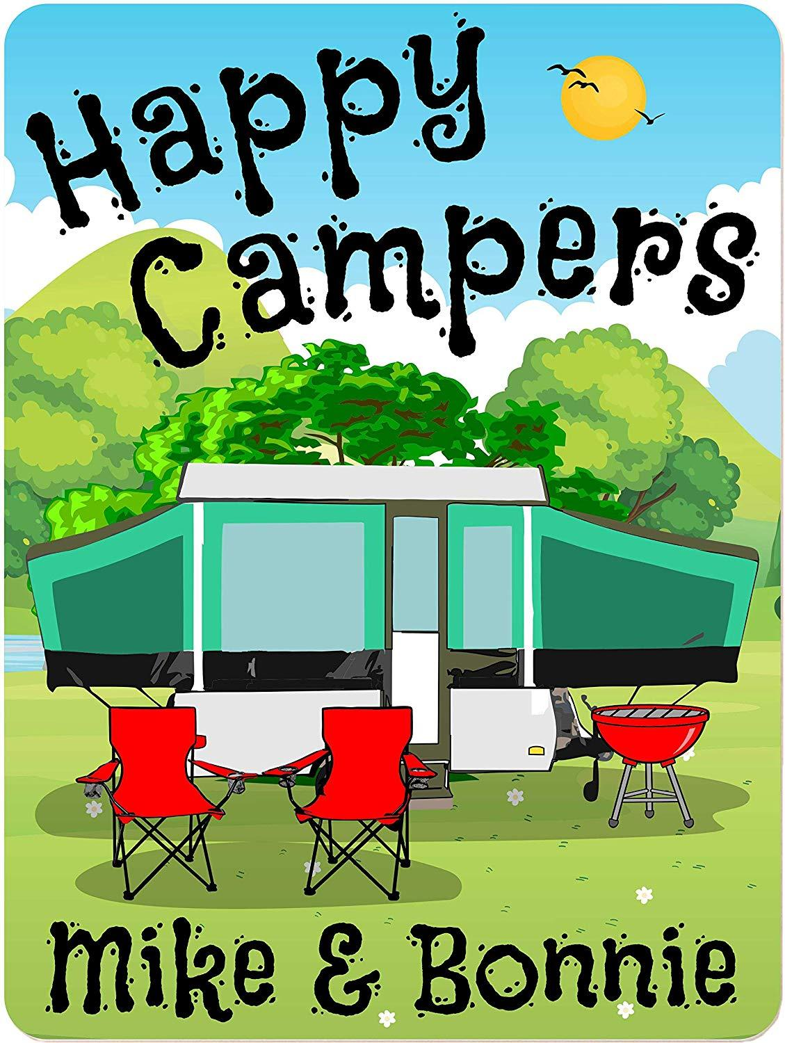 Happy Campers Personalized Aluminum Camping Sign With Pop-Up Camper
