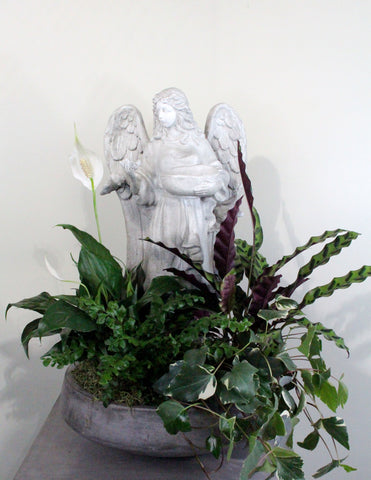 Indoor Garden Bowl with An Angel Statue Large