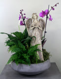 Indoor Garden Bowl with An Angel Statue & Orchid Medium