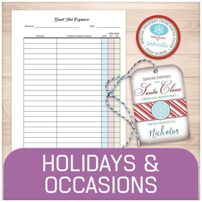 Holiday and Occasion Printable Pages