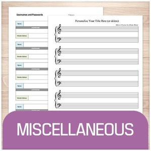Miscellaneous Printable Pages for organization at Printable Planning