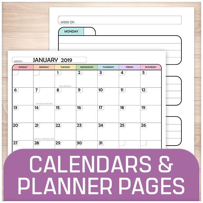 Calendars and Planner Pages - Printable Planning