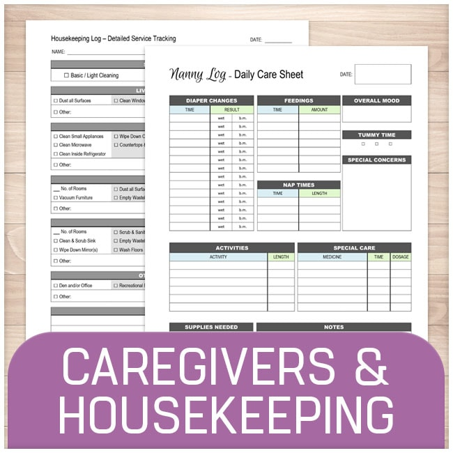 Caregivers, Housekeeping, and Pet forms online at Printable Planning
