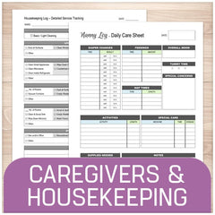 Printable Caregiver and Housekeeping Pages