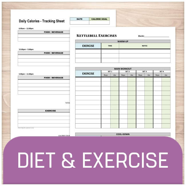 printable diet and exercise sheets online at printable