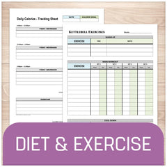 Diet and Exercise Sheets - Printable Planning