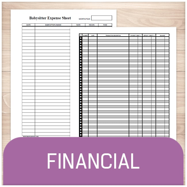 Financial Sheets - Printable Planning