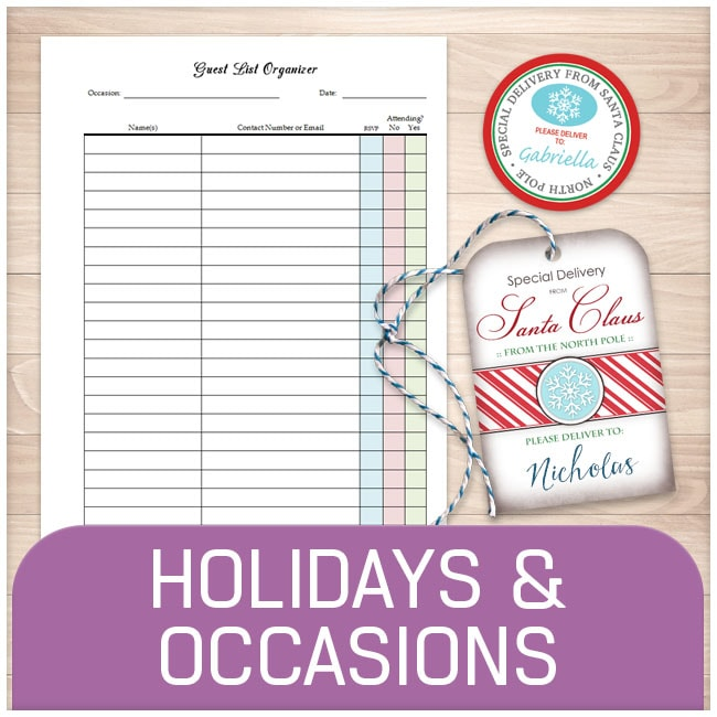 Holiday and Occasion Printable Pages - Printable Planning
