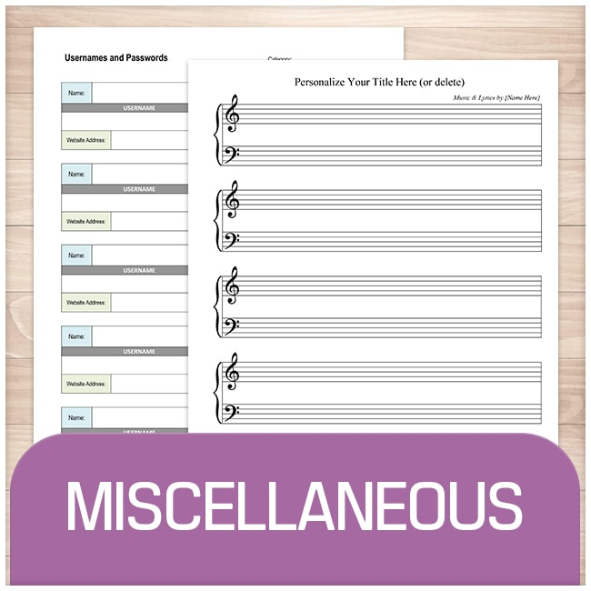 Miscellaneous Organization Pages - Printable Planning