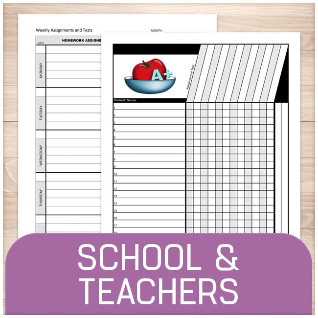 School and Teachers - Printable Planning