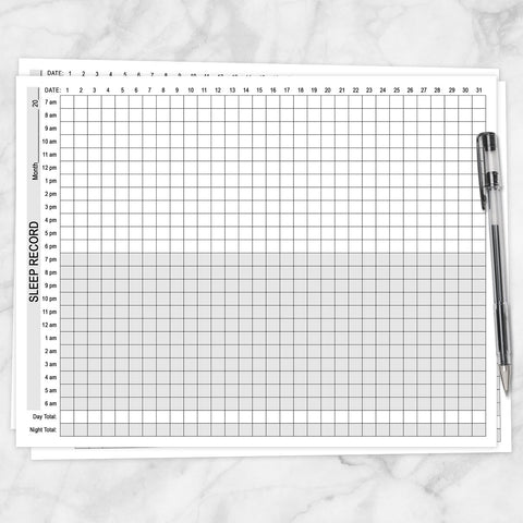 Printable 24-Hour Sleep Record, Monthly Sleep Tracking Sheet at Printable Planning