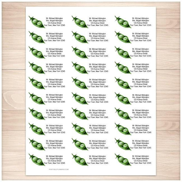 Cute 2 Peas in a Pod Address Labels 30up - Printable Planning