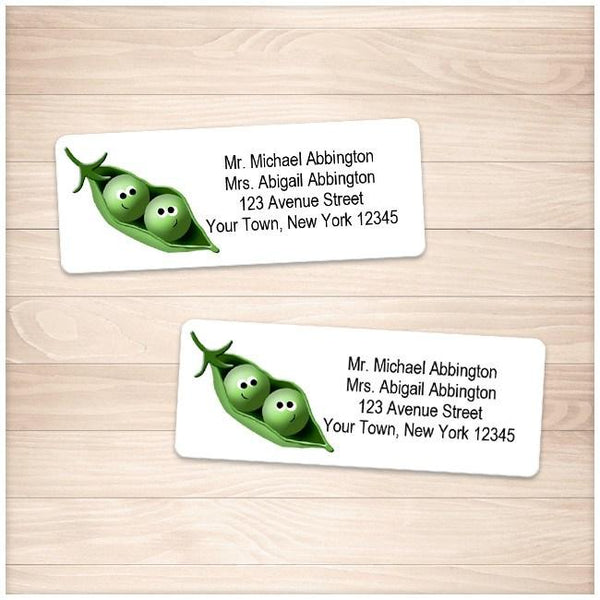 Cute 2 Peas in a Pod Address Labels - Printable Planning