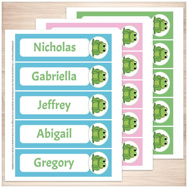 Personalized Adorable Frog Blue Pink and Green Bookmarks - Printable