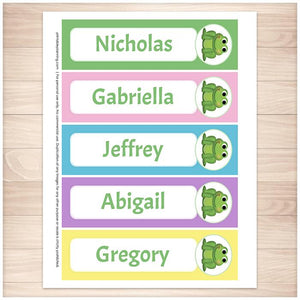 Personalized Adorable Frog Colorful Bookmarks - Printable