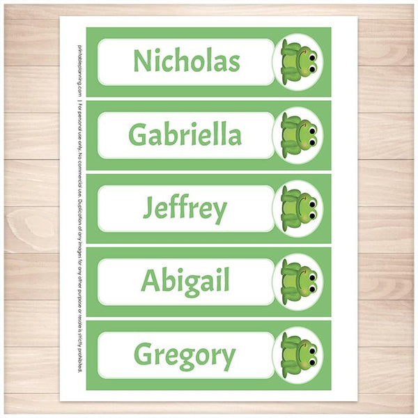 Personalized Adorable Frog Green Bookmarks - Printable