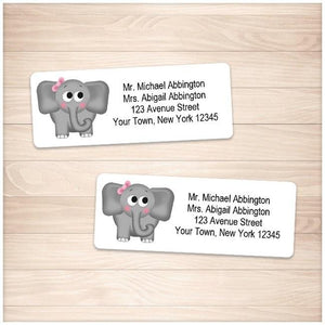 Adorable Girl Elephant Address Labels - Printable Planning