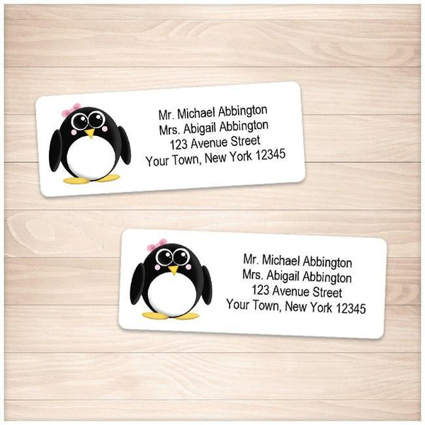 Adorable Little Girl Penguin Address Labels - Printable Planning