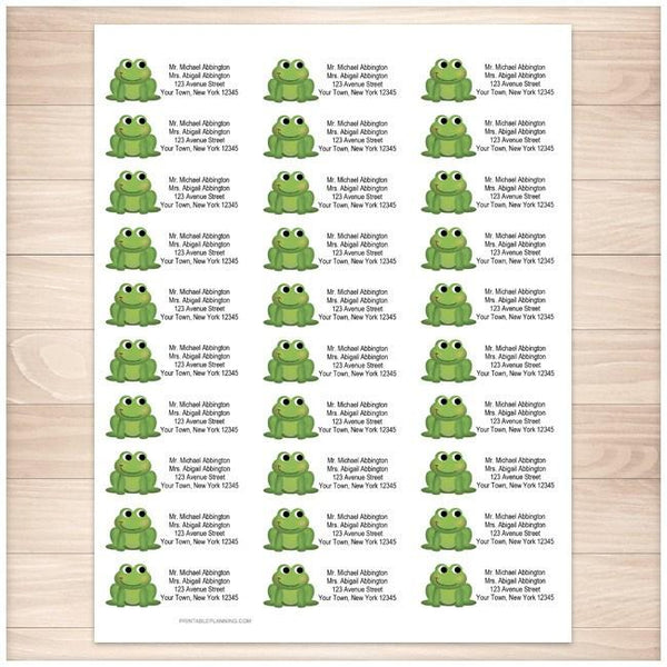 Adorable Green Froggy Address Labels 30up - Printable Planning