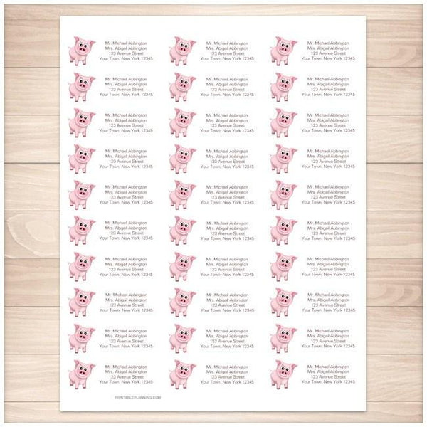 Cute Happy Pink Pig Address Labels 30up - Printable Planning