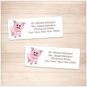 Cute Happy Pink Pig Address Labels - Printable Planning