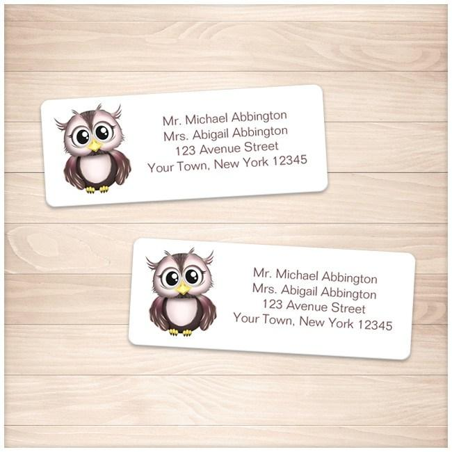 Cute Pink and Brown Owl Address Labels - Printable Planning