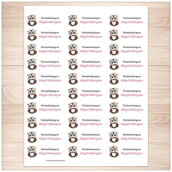 Adorable Owl Bookplate Labels for Name Labeling Books - Printable Planning